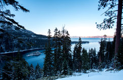 Emerald Bay with Winter snow Royalty Free Stock Photography