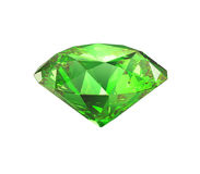 Emerald brilliant cut isolated. Precious bright green crystal emerald brilliant gem cutting. Isolated on white background Stock Photo