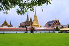 Emerald budda temple. The temple of the emerald buddha is importan tourist spot of bangkok.there is the grand palac in side stock images