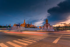 Emerald Buddha Temple in the dusk Stock Photography