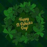 Emerald cartoon shamrock and plaid background. Saint patrick's day template. vector illustration Stock Image