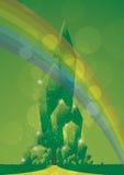 Emerald city close rainbow. Sparkling city of oz with rainbow Royalty Free Stock Image