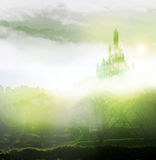 Emerald city in mist Stock Photos