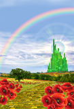 Yellow brick leading to oz. The yellow brick red that leads through the hills and poppies to the Emerald city royalty free stock image