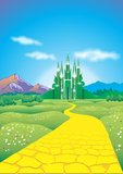 Emerald city. Road of yellow bricks to the emerald city of oz