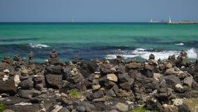 Emerald color ocean in Jeju Island, South Korea Royalty Free Stock Image