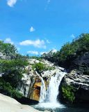 Emerald Creek Falls. In Mareeba. Mareeba is situated in the Far North Queensland Teableland Royalty Free Stock Images