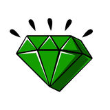 Emerald crystal of a diamond shape, vector comic illustration. In pop art retro style isolated on white background Royalty Free Stock Photos
