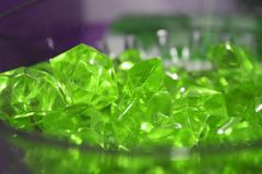 Emerald crystals close-up, green minerals royalty free stock image