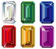 Emerald cut precious stones with sparkle Stock Image