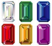 Emerald cut precious stones with sparkle. Illustration of emerald cut precious stones with sparkle Stock Image