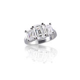 Emerald Cut three stone diamond ring Stock Image