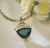 Emerald and Diamond Pendant Royalty Free Stock Photos