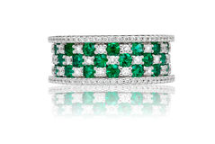 Emerald and diamond ring Royalty Free Stock Image