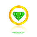 Emerald diamond stone. Vector company logo Royalty Free Stock Photos