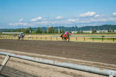 Emerald Downs, race is underway with number one hose in the lead Royalty Free Stock Photos