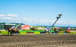 Emerald Downs, race is underway with number one hose in the lead Stock Photos