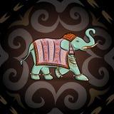 Emerald ethnic elephant Stock Images