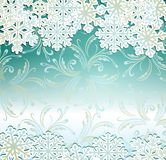 Emerald festive background with snowflakes Royalty Free Stock Image