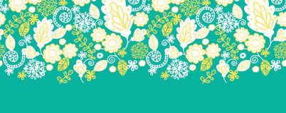 Emerald flowerals horizontal seamless pattern Stock Photos