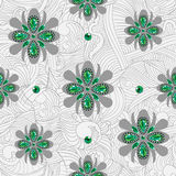 Emerald flowers pattern Stock Images