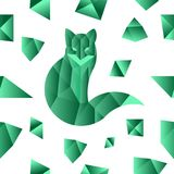 Emerald fox seamless pattern. Seamless pattern with lowoply green fox and emeralds Stock Photos