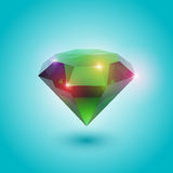 Emerald gem. A beautiful emerald gem (vector object vector illustration