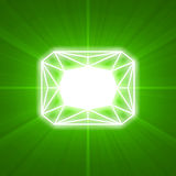 Emerald gem cut glowing light flare Royalty Free Stock Images
