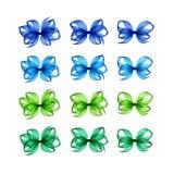 Emerald Gift Bows Different Shapes vert bleu-clair coloré Photo stock
