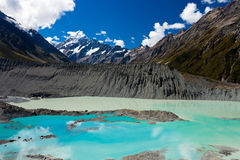 Emerald glacier lake in Aoraki Mt Cook NP Royalty Free Stock Images