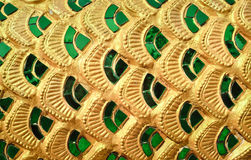 Emerald glass pattern stuck on the temple wall Royalty Free Stock Photos