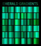 Emerald gradients collection for design. Collection of shiny green gradient illustrations for backgrounds, cover, frame, ribbon, banner, label, flyer, card Stock Photo