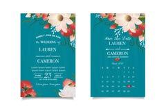 Emerald-green κάρτα πρόσκλησης με την αντιστοιχημένη ημερομηνία Θαυμάσιο floral υπόβαθρο Στοκ Φωτογραφίες