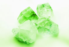Emerald green colored quartz crystals. Beautiful emerald green colored semiprecious quartz rock crystals Royalty Free Stock Photos