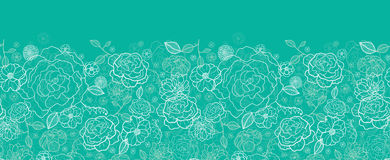 Emerald green floral lineart horizontal seamless Royalty Free Stock Images