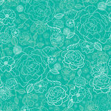 Emerald green floral lineart seamless pattern Royalty Free Stock Photos