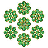 Emerald Green Flowers Isolated Objects. Pattern of seven greens composed of gemstones emeralds. Mid flower - round stone, petals in the form of drops. Isolated Royalty Free Stock Photography