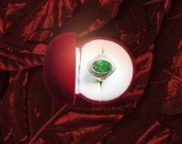 Emerald green gemstone ring. The red background is shiny red.Focus on green gemstones Stock Photo