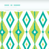 Emerald green ikat diamonds horizontal torn Stock Images