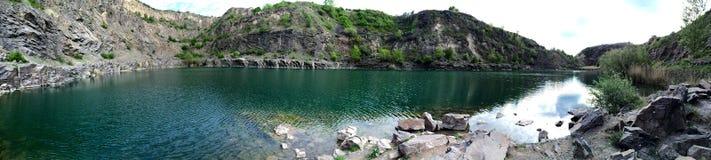 Emerald green lake panorama view canyon stock photography