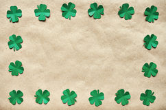 Emerald green paper clover shamrock leafs wreath border Stock Image