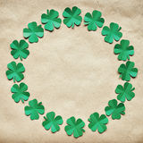 Emerald green paper clover shamrock leafs wreath border Royalty Free Stock Image