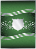 Emerald Green Vector Background Template. A luxurious emerald green background template with ornate silver leaf design flourishes vector illustration
