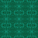 Emerald green, vector malachite texture. Vector seamless detailed, ornamented and decorative pattern with psychedelic shapes and delicate lines in emerald green Stock Photos
