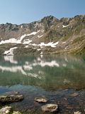 Emerald green water. Of the Blue lake reflects rocks and snow on its bank Royalty Free Stock Photos
