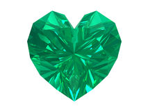 Emerald heart isolated on white background.
