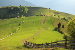 Emerald Hills Mizhgorya in the Carpathian mountains stock photo