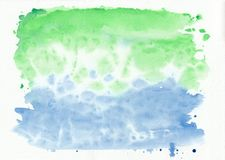 Emerald jade and azure mixed watercolor horizontal gradient background. It`s useful for greeting cards, valentines. Letters. Abstract art style handicraft Royalty Free Stock Images