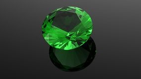 Emerald. Jewelry gems roung shape on black background Stock Photos