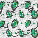 Emerald jewelry silver pattern Royalty Free Stock Photography